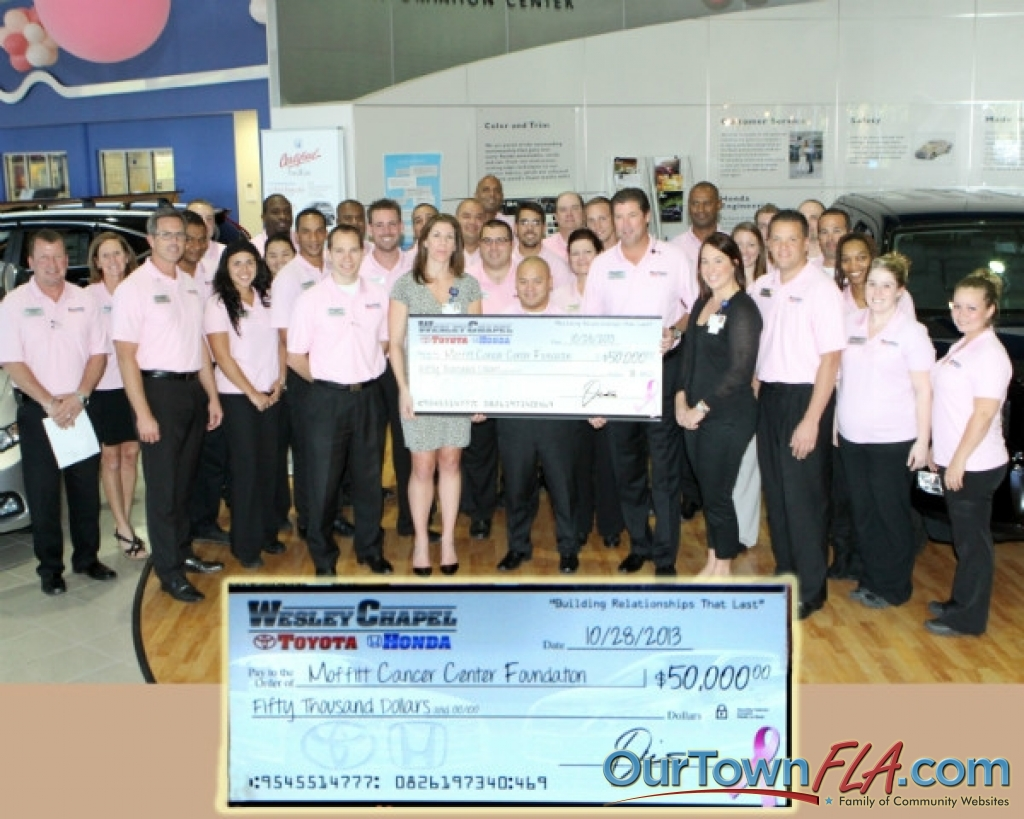 Wesley Chapel Toyota And Honda Presented A Check To Mof Cancer Center For 50 000
